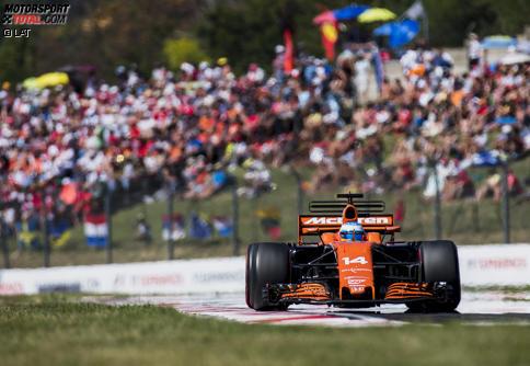 Fernando Alonso bekommt die besten Noten für seine Leistung in Ungarn. Jetzt durch die 17 besten Fotos des Rennens klicken!
