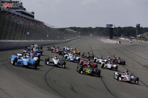Takuma Sato (Andretti), Simon Pagenaud (Penske), Charlie Kimball (Ganassi) und Will Power (Penske)
