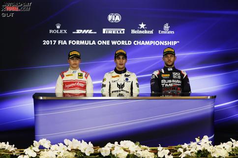 Sergio Sette Camara (MP Motorsport), Luca Ghiotto (Russian Time) und Nyck de Vries