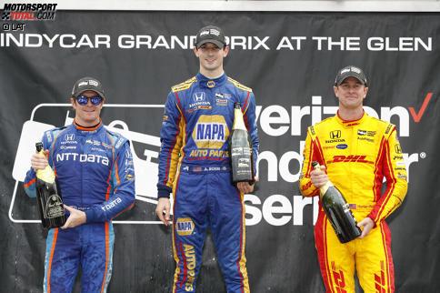 Scott Dixon (Ganassi), Alexander Rossi (Andretti) und Ryan Hunter-Reay (Andretti)