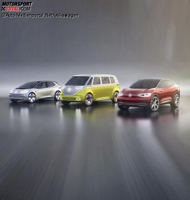 Volkswagen I.D., I.D. Buzz und I.D. Crozz (von links)