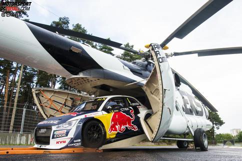 Mattias Ekströms Fahrt aus dem Hubschrauber ist der spektakuläre Schlusspunkt des Videos.