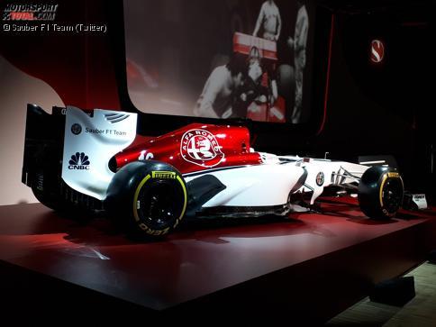 Eine mögliche Lackierungvon Sauber und Alfa Romeo für die Formel-1-Saison 2018: Viel Weiß, etwas Rot und dunkelblaue Streifen.