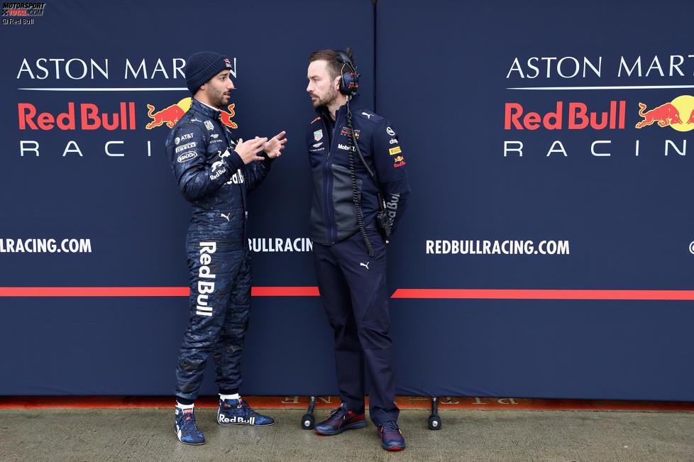 Daniel Ricciardo und Simon Rennie (Red Bull)