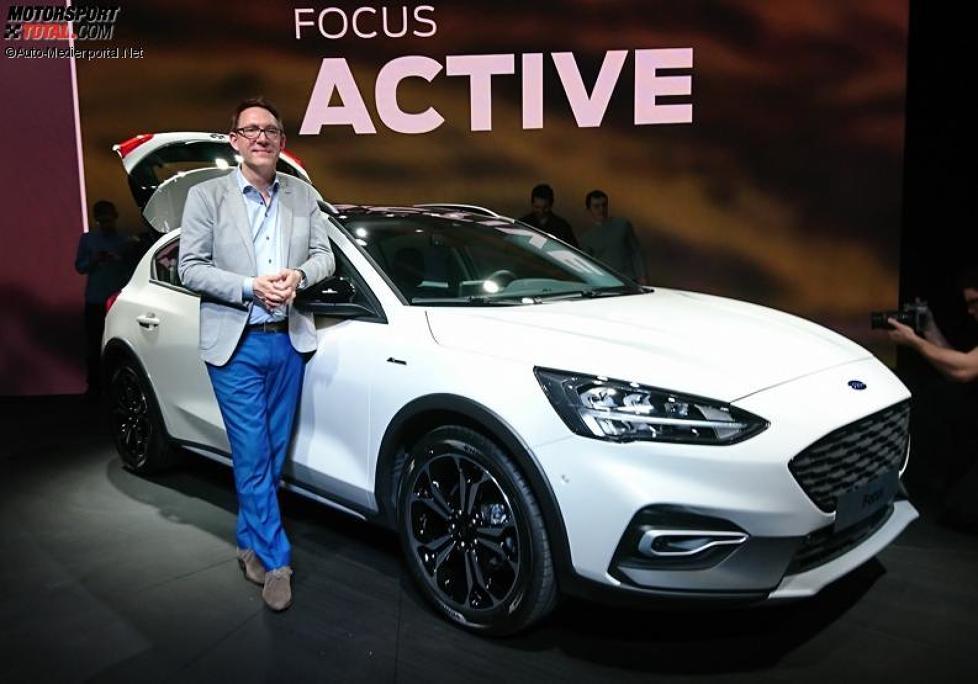 Amko Leenarts, Chefdesigner von Ford Europe, mit dem Focus Active 2018