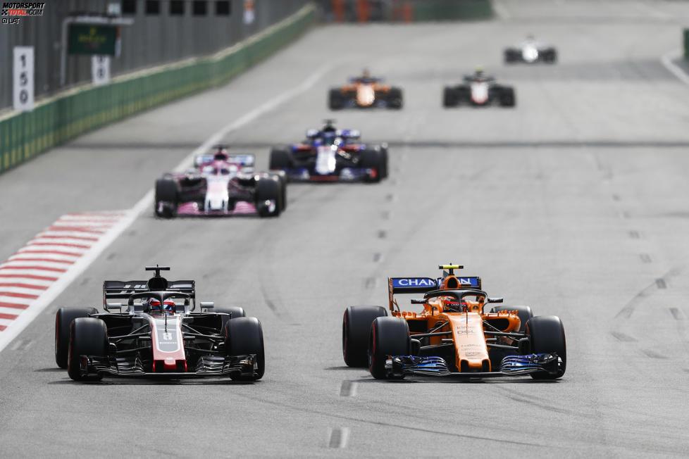 Stoffel Vandoorne (McLaren), Romain Grosjean (Haas) und Sergio Perez (Force India)