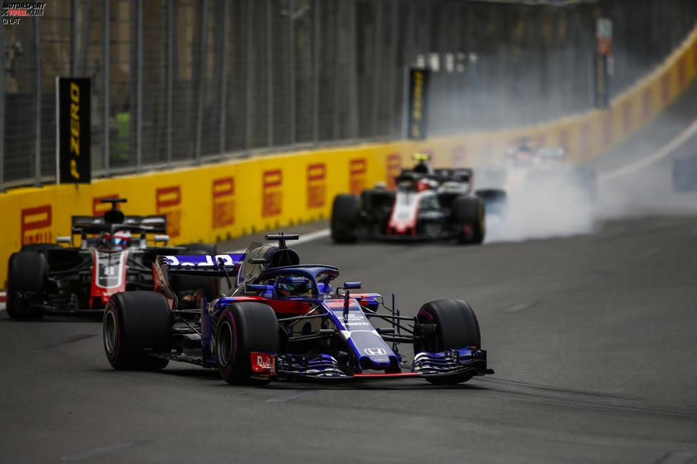 Brendon Hartley (Toro Rosso), Romain Grosjean (Haas) und Kevin Magnussen (Haas)