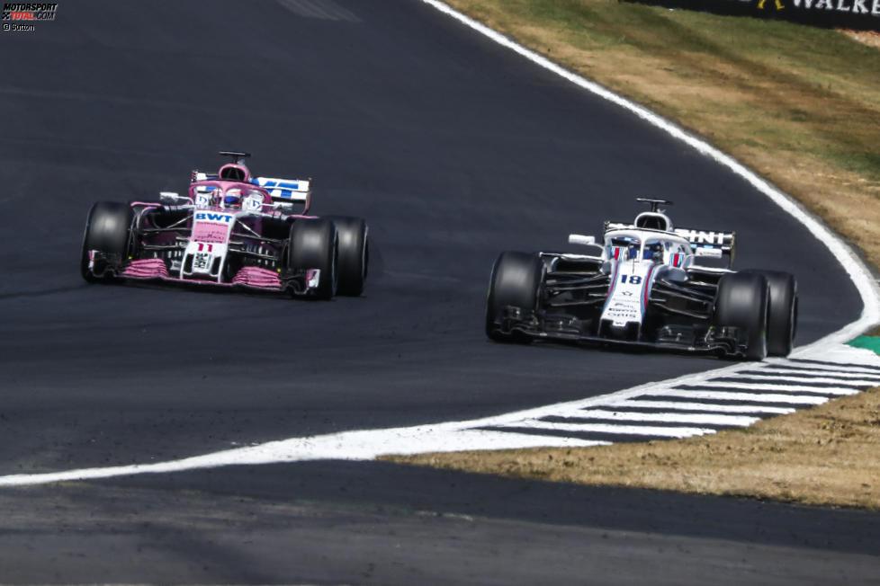 Sergio Perez (Force India) und Lance Stroll (Williams)