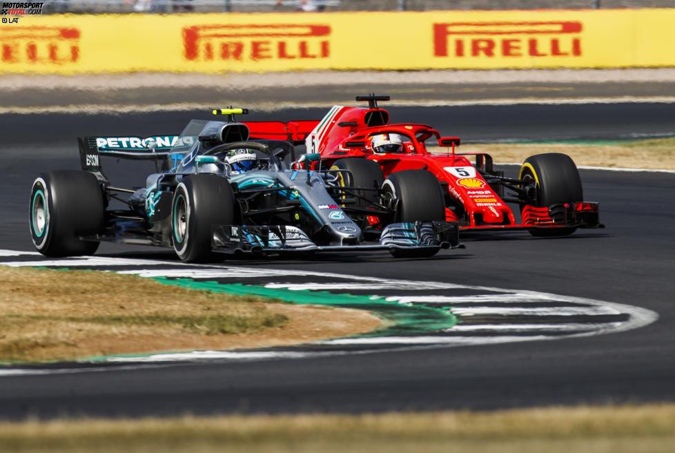 Valtteri Bottas (Mercedes) und Sebastian Vettel (Ferrari)