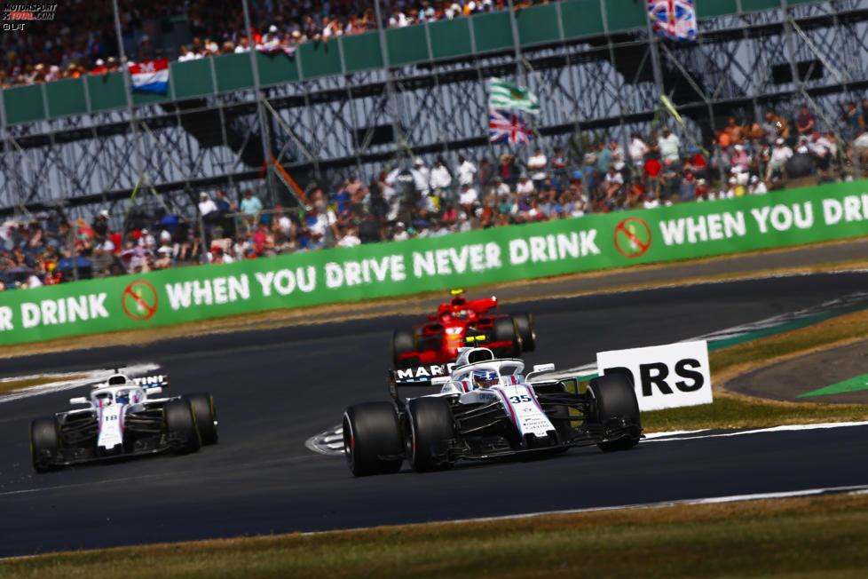Sergei Sirotkin (Williams), Lance Stroll (Williams) und Kimi Räikkönen (Ferrari)
