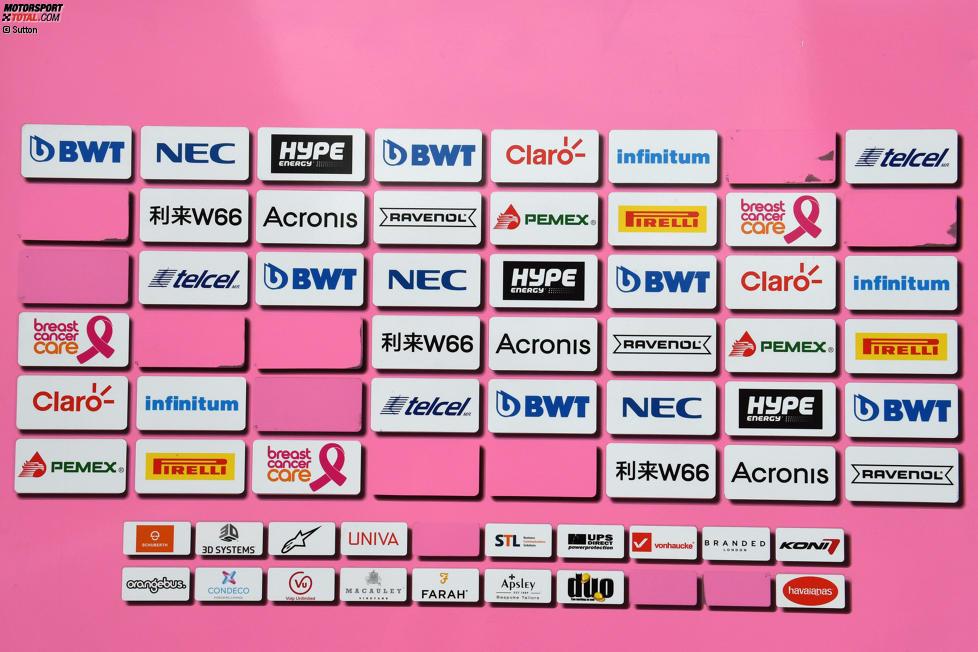 Die Sponsorentafel von Force India weißt einige Lücken auf