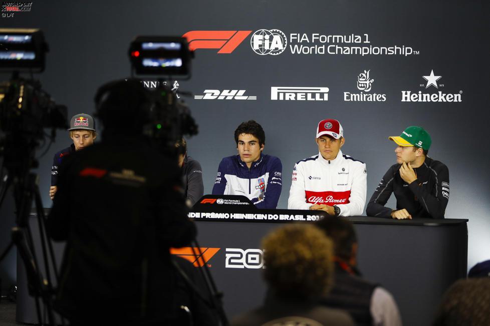 Brendon Hartley (Toro Rosso), Lance Stroll (Williams), Marcus Ericsson (Sauber) und Stoffel Vandoorne (McLaren)