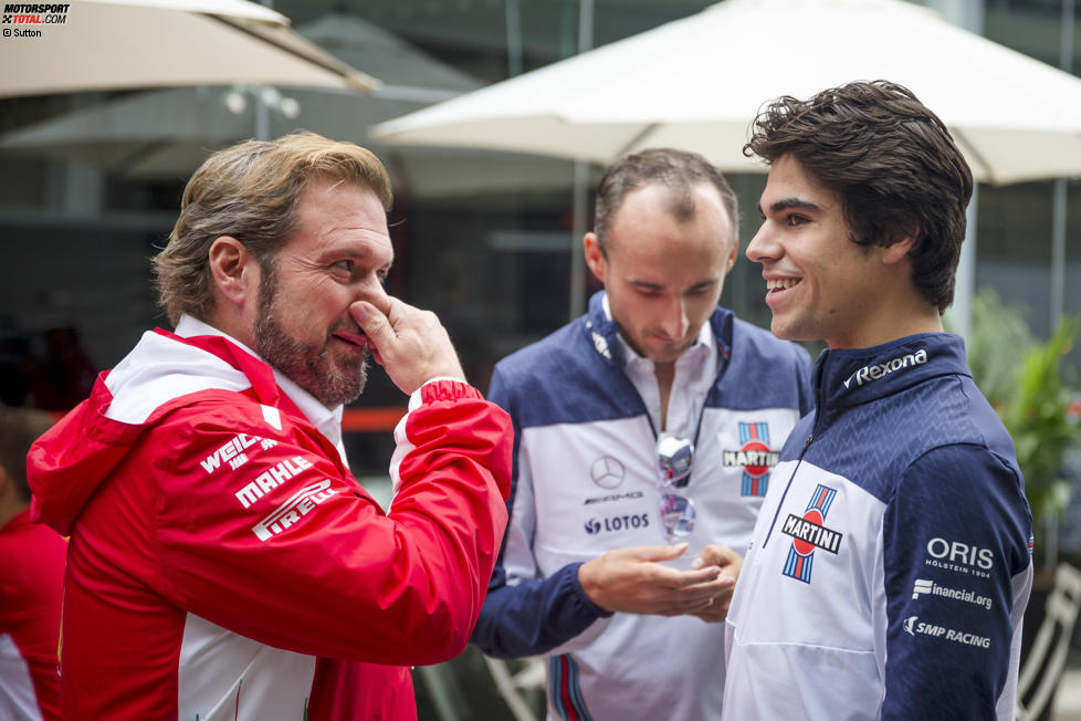 Gino Rosato (Ferrari), Robert Kubica und Lance Stroll (Williams)