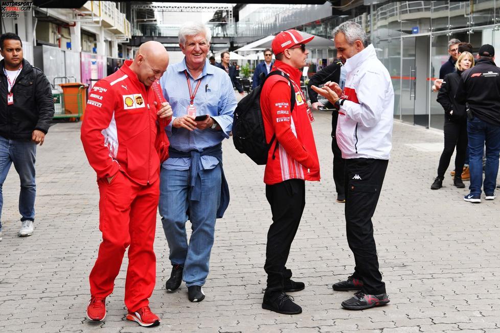 Mark Arnall (Sauber), Roger Benoit (Blick), Kimi Räikkönen (Ferrari) und Beat Zehnder (Sauber)