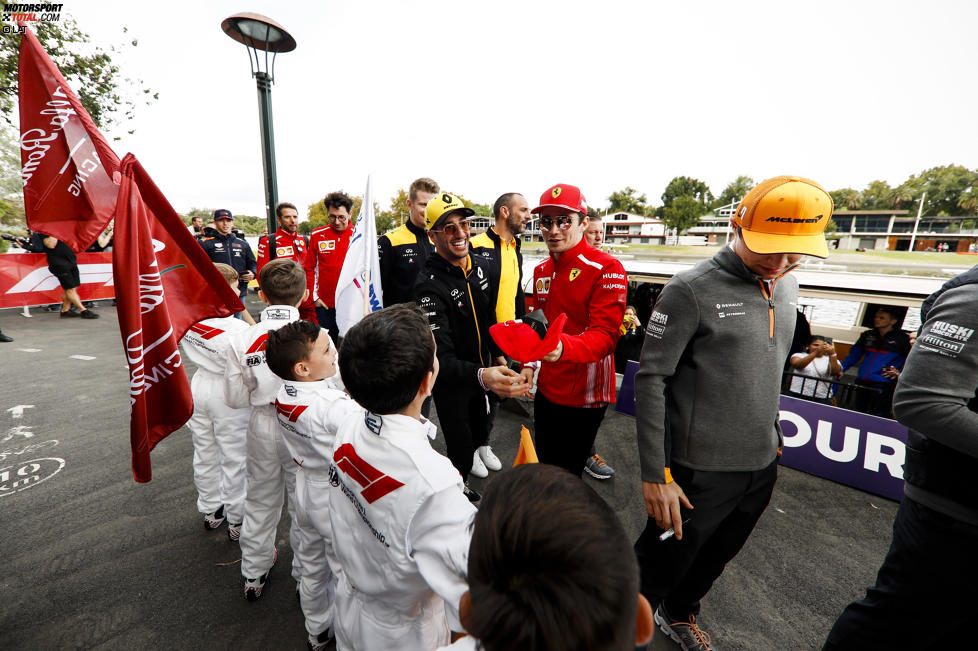 Daniel Ricciardo (Renault), Charles Leclerc (Ferrari) und Lando Norris (McLaren)