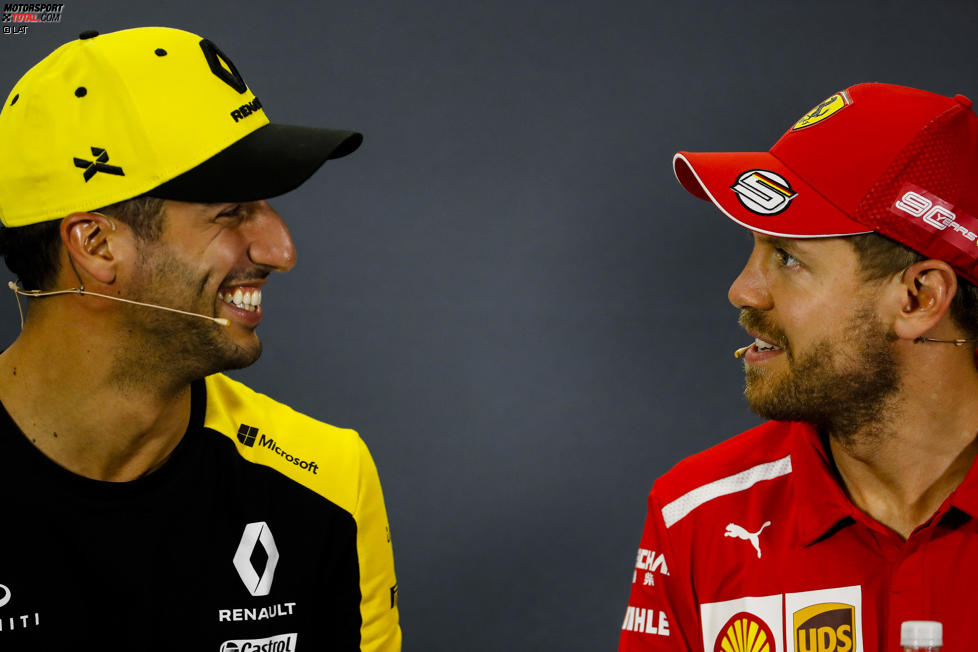 Daniel Ricciardo (Renault) und Sebastian Vettel (Ferrari)