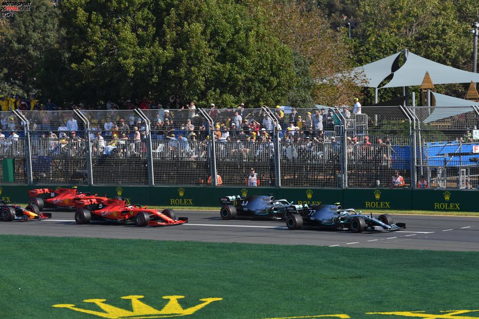 Valtteri Bottas (Mercedes), Lewis Hamilton (Mercedes), Sebastian Vettel (Ferrari), Charles Leclerc (Ferrari) und Max Verstappen (Red Bull)