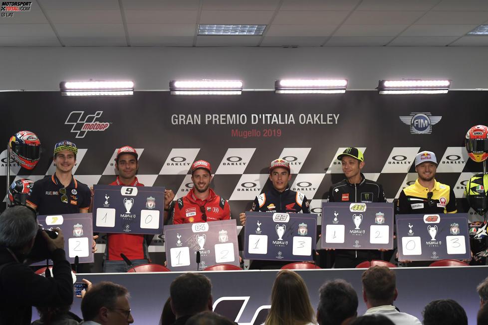 Danilo Petrucci (Ducati), Andrea Dovizioso (Ducati), Marc Marquez (Honda) und Jack Miller (Pramac)