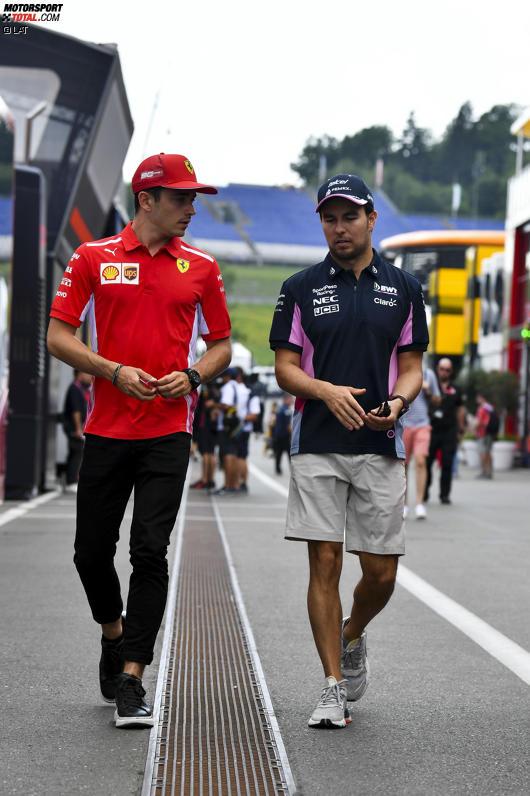 Charles Leclerc (Ferrari) und Sergio Perez (Racing Point)