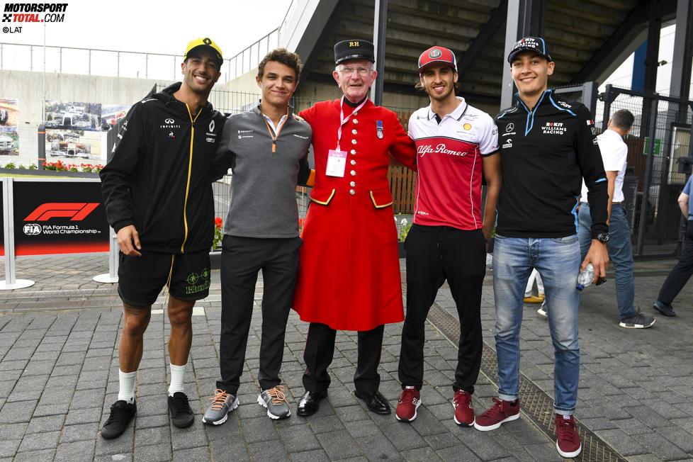 Daniel Ricciardo (Renault), Lando Norris (McLaren), Antonio Giovinazzi (Alfa Romeo) und George Russell (Williams)