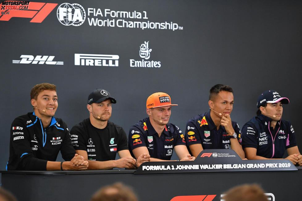 George Russell (Williams), Valtteri Bottas (Mercedes), Max Verstappen (Red Bull), Alexander Albon (Red Bull) und Sergio Perez (Racing Point)