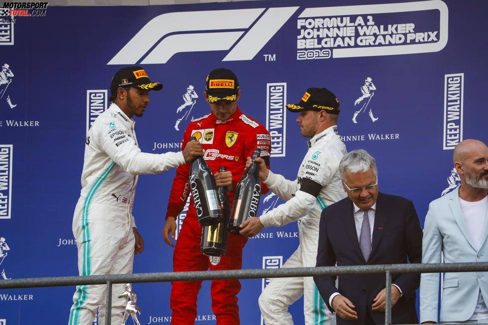 Lewis Hamilton (Mercedes), Charles Leclerc (Ferrari) und Valtteri Bottas (Mercedes)