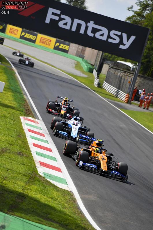 Lando Norris (McLaren), George Russell (Williams) und Alexander Albon (Red Bull)