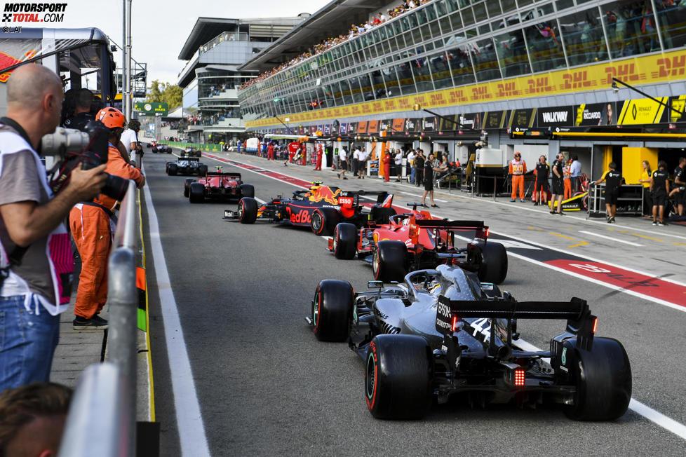 Valtteri Bottas (Mercedes), Charles Leclerc (Ferrari), Alexander Albon (Red Bull), Sebastian Vettel (Ferrari) und Lewis Hamilton (Mercedes)