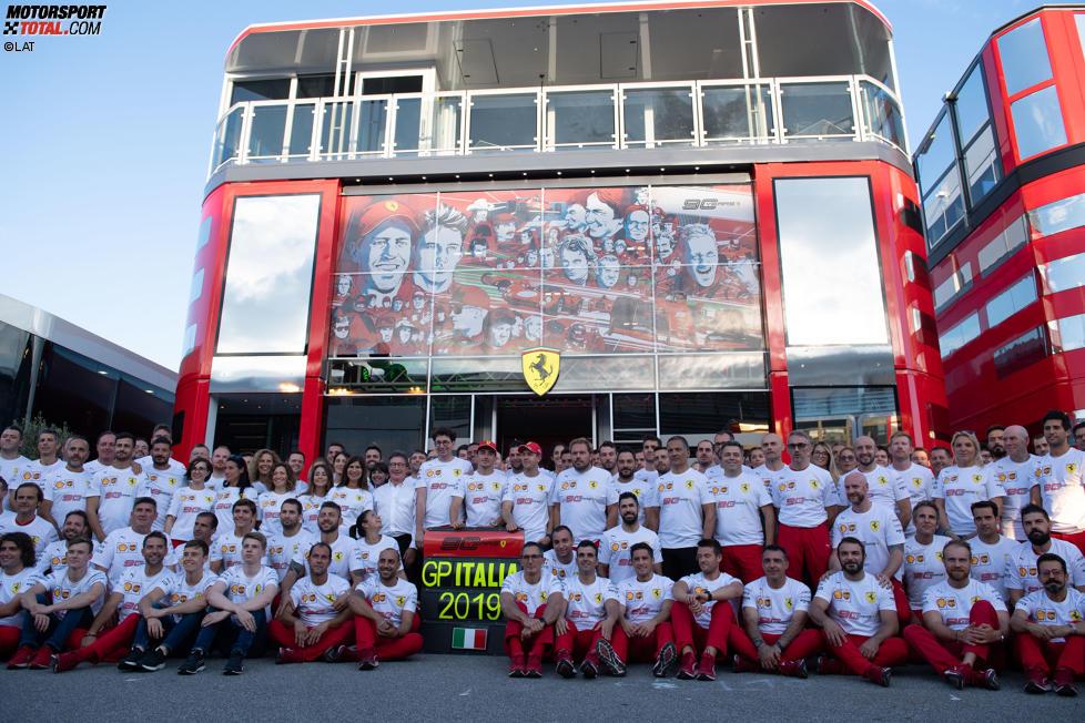 Mattia Binotto, Charles Leclerc (Ferrari) und Sebastian Vettel (Ferrari)
