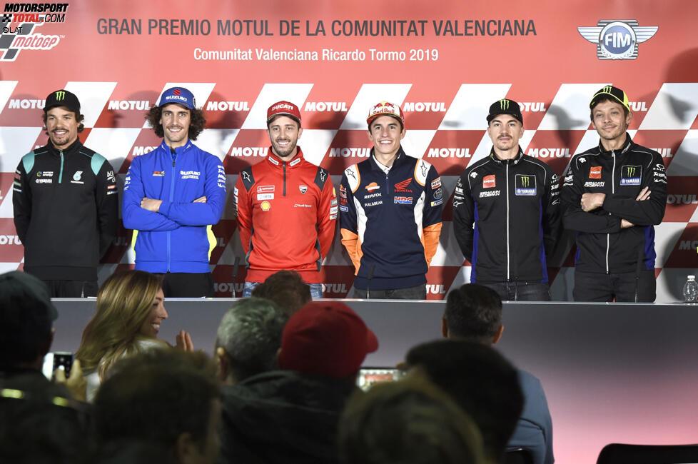 Franco Morbidelli (Petronas Yamaha), Alex Rins (Suzuki), Andrea Dovizioso (Ducati), Marc Marquez (Honda) und Maverick Vinales (Yamaha)