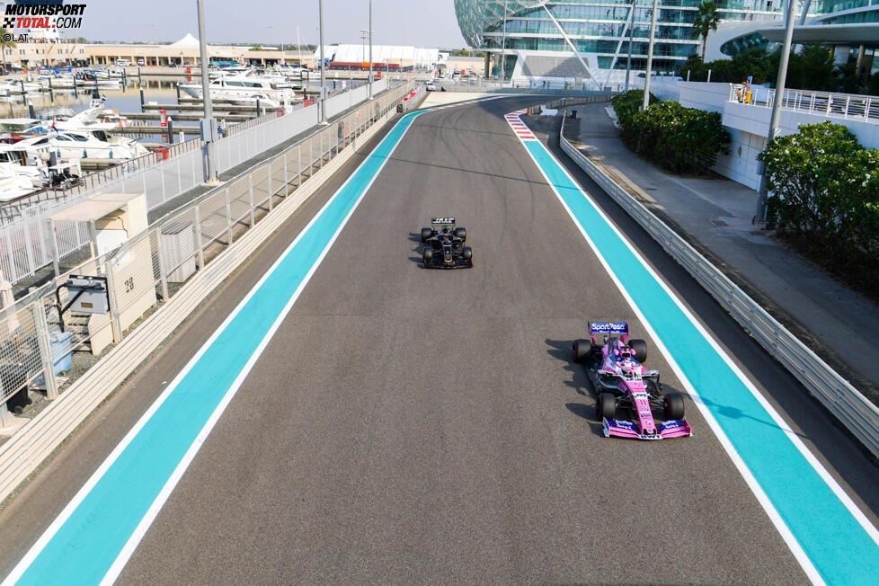 Sergio Perez (Racing Point) und Romain Grosjean (Haas)