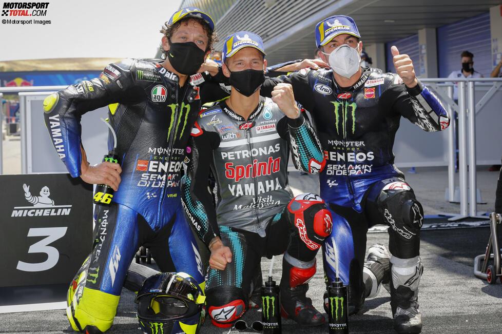 Valentino Rossi, Fabio Quartararo und Maverick Vinales