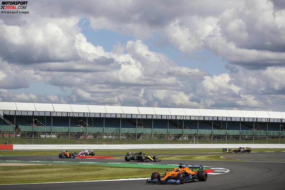 Carlos Sainz (McLaren), Daniel Ricciardo (Renault) und Lando Norris (McLaren)