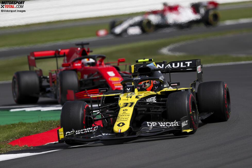 Esteban Ocon (Renault) und Sebastian Vettel (Ferrari)