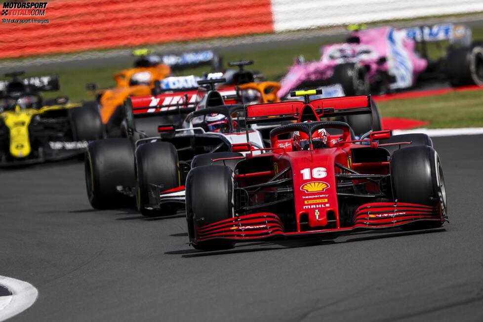 Charles Leclerc (Ferrari), Romain Grosjean (Haas) und Daniel Ricciardo (Renault)