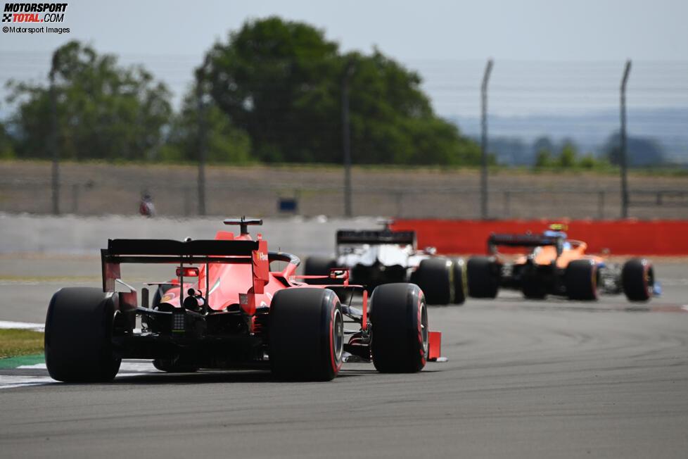 Lando Norris (McLaren), Romain Grosjean (Haas) und Sebastian Vettel (Ferrari)