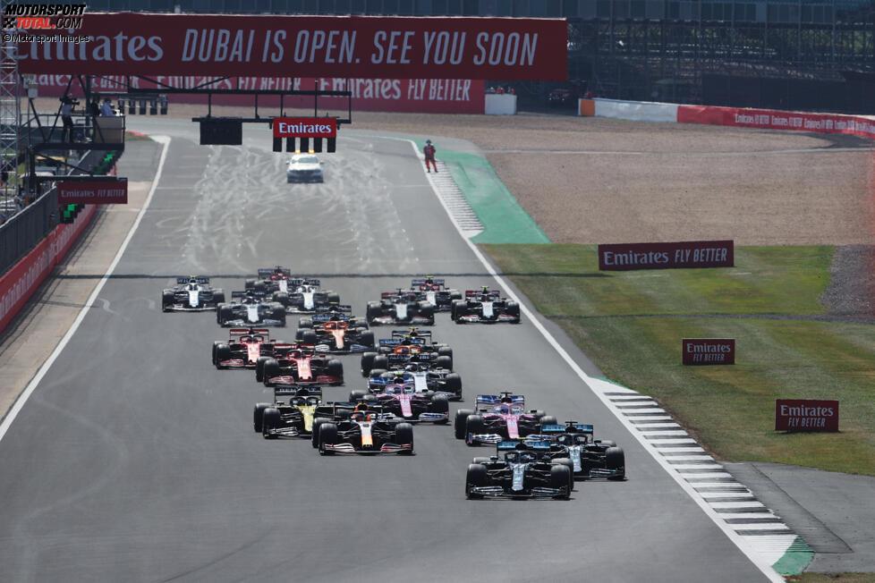 Valtteri Bottas (Mercedes), Lewis Hamilton (Mercedes), Max Verstappen (Red Bull), Nico Hülkenberg (Racing Point) und Daniel Ricciardo (Renault)