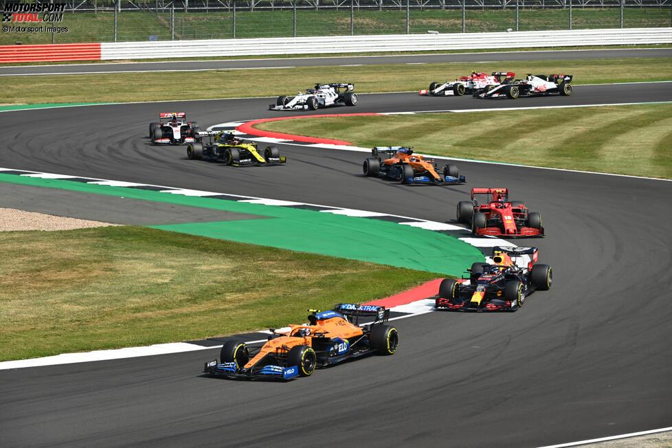 Lando Norris (McLaren), Alexander Albon (Red Bull), Charles Leclerc (Ferrari), Carlos Sainz (McLaren), Esteban Ocon (Renault), Kevin Magnussen (Haas) und Daniil Kwjat (AlphaTauri)