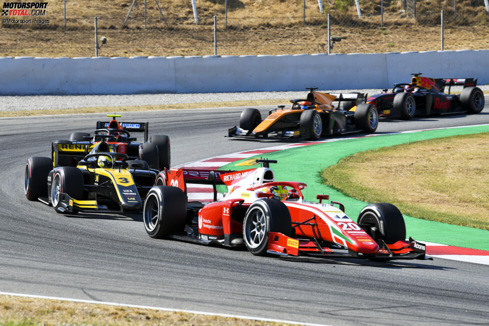 Mick Schumacher (Prema), Guanyu Zhou (Virtuosi), Felipe Drugovich (MP Motorsport), Jack Aitken (Campos) und Yuki Tsunoda (Carlin)