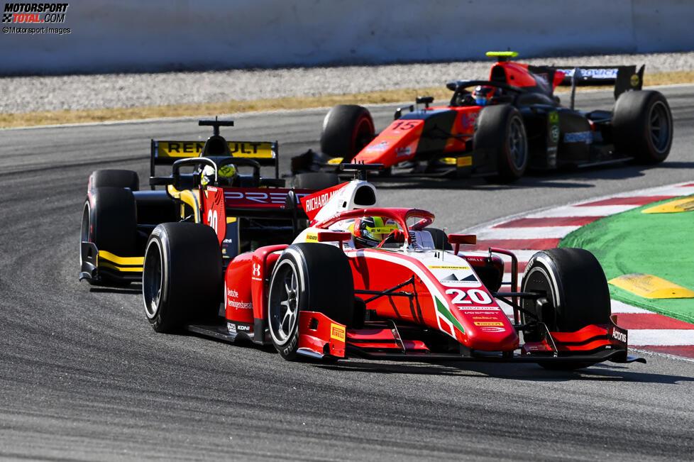 Mick Schumacher (Prema), Guanyu Zhou (Virtuosi) und Felipe Drugovich (MP Motorsport)