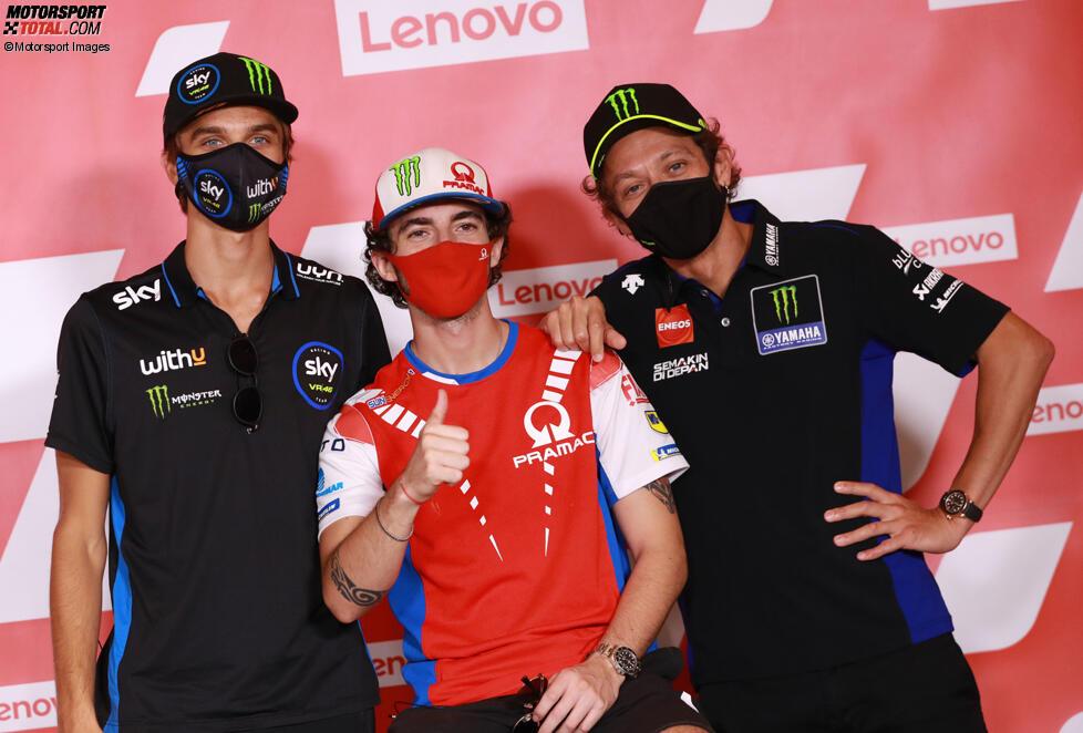 Luca Marini, Francesco Bagnaia und Valentino Rossi