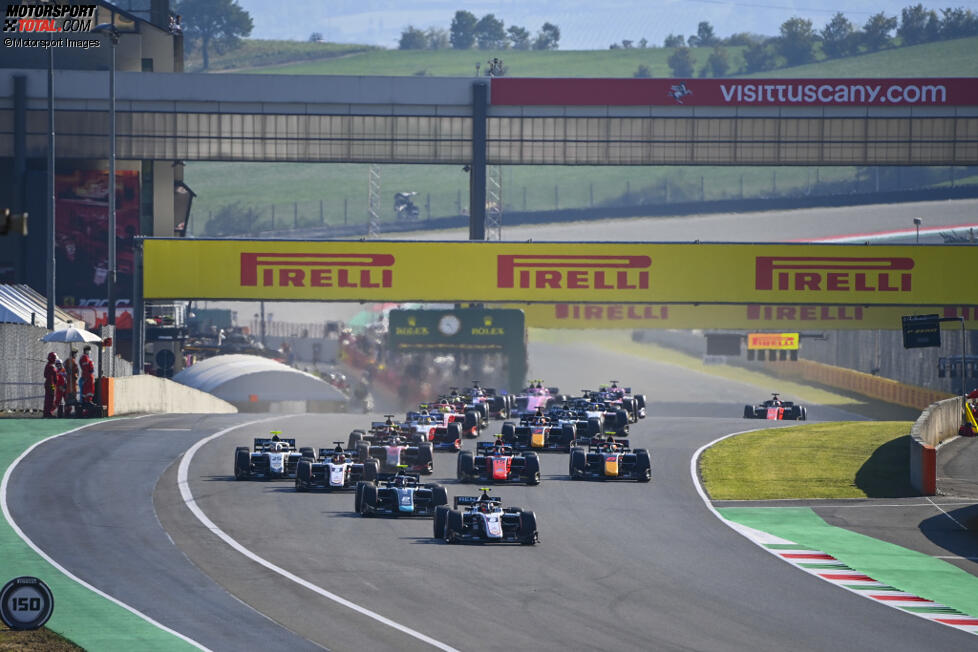 Daniel Ticktum (DAMS), Christian Lundgaard (ART), Marcus Armstrong (ART), Nobuharu Matsushita (MP Motorsport), Felipe Drugovich (MP Motorsport) und Luca Ghiotto (Hitech)