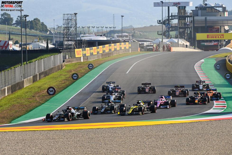 Lewis Hamilton (Mercedes), Daniel Ricciardo (Renault), Valtteri Bottas (Mercedes), Sergio Perez (Racing Point), Daniil Kwjat (AlphaTauri) und Alexander Albon (Red Bull)