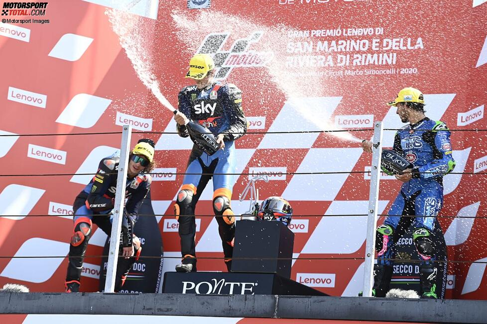 Marco Bezzecchi (VR46), Luca Marini (VR46) und Enea Bastianini (Italtrans)