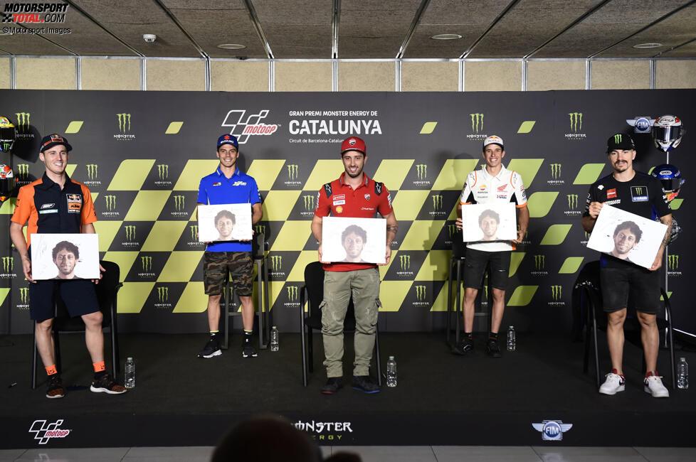 Pol Espargaro (KTM), Joan Mir (Suzuki), Andrea Dovizioso (Ducati), Alex Marquez (Honda) und Maverick Vinales (Yamaha)