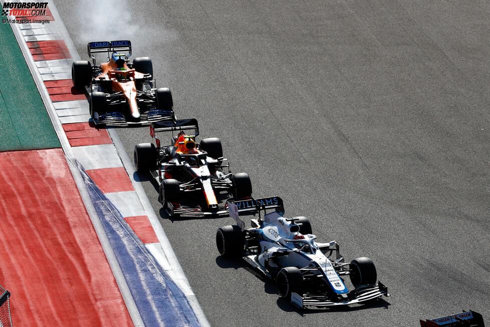 George Russell (Williams), Alexander Albon (Red Bull) und Lando Norris (McLaren)