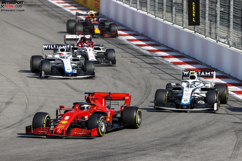 Sebastian Vettel (Ferrari), Nicholas Latifi (Williams), George Russell (Williams) und Kimi Räikkönen (Alfa Romeo)