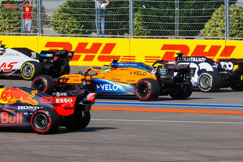 Kevin Magnussen (Haas), Lando Norris (McLaren) und Daniil Kwjat (AlphaTauri)