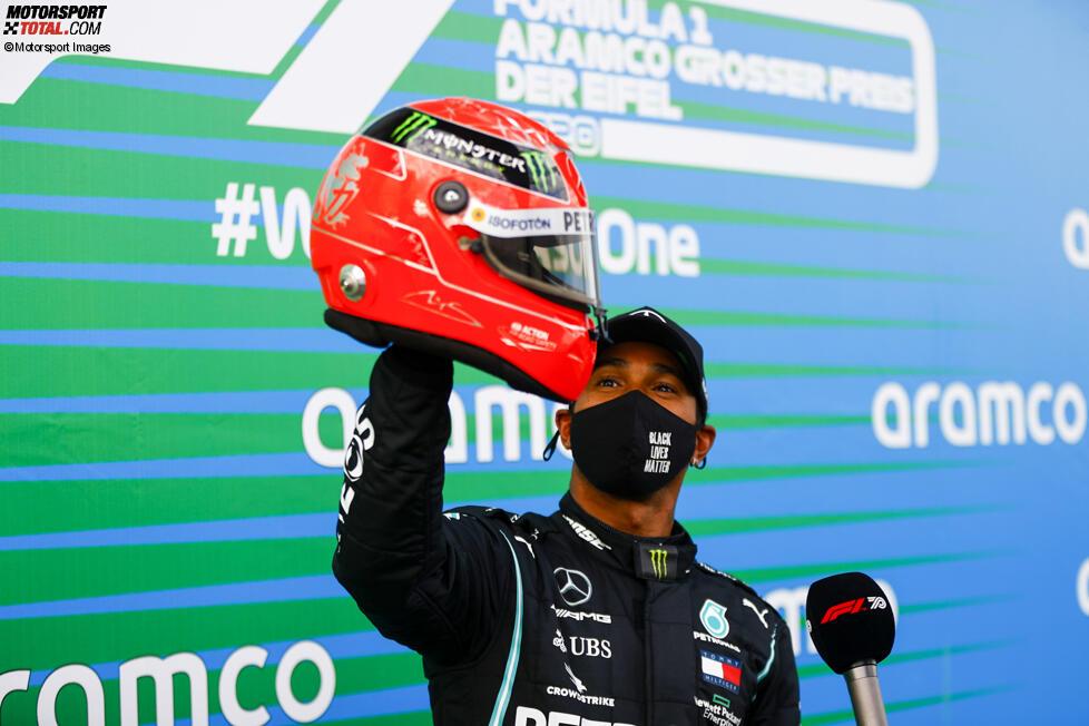 Lewis Hamilton (Mercedes), Michael Schumacher und Mick Schumacher