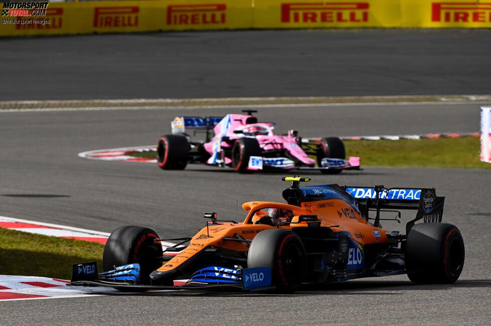 Lando Norris (McLaren) und Sergio Perez (Racing Point)